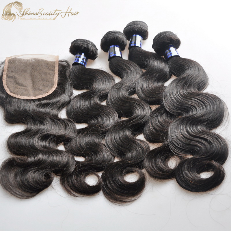 Shine Beauty Hair Brand Luxury Hair 4 Body Wave bundles With Lace Closure 4x4 1pc Peruvian Hair Factory Direct Supplier Free Shipping