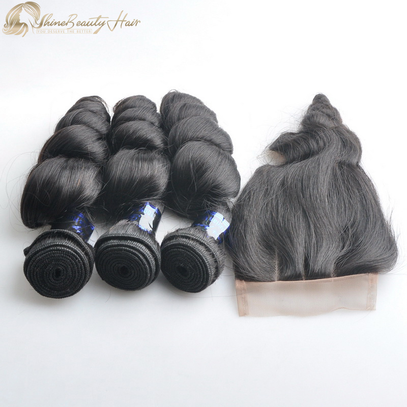 Shine Beauty Hair Brand Best Human Hair 3pcs Loose Wave Hair Weaves With Closure Lace 4x4 1pc Brazilian Hair Free Shipping