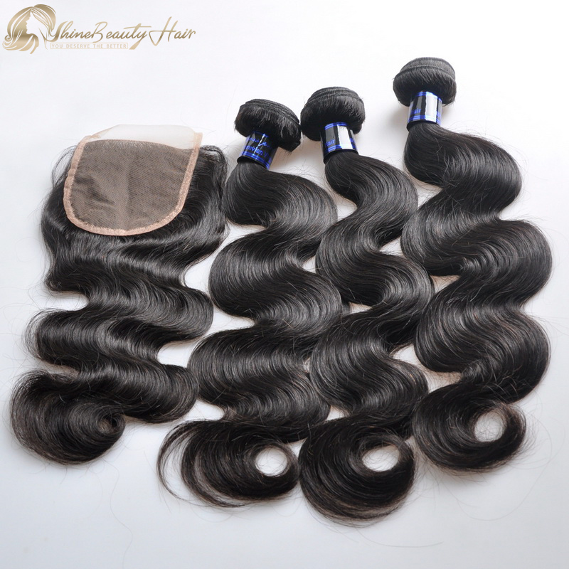 Free Shipping Factory Direct Virgin Human Hair 3 Pieces Body Wave Hair Bundles With Closure 1pc Affordable Price Peruvian Hair Shine Beauty Hair Brand