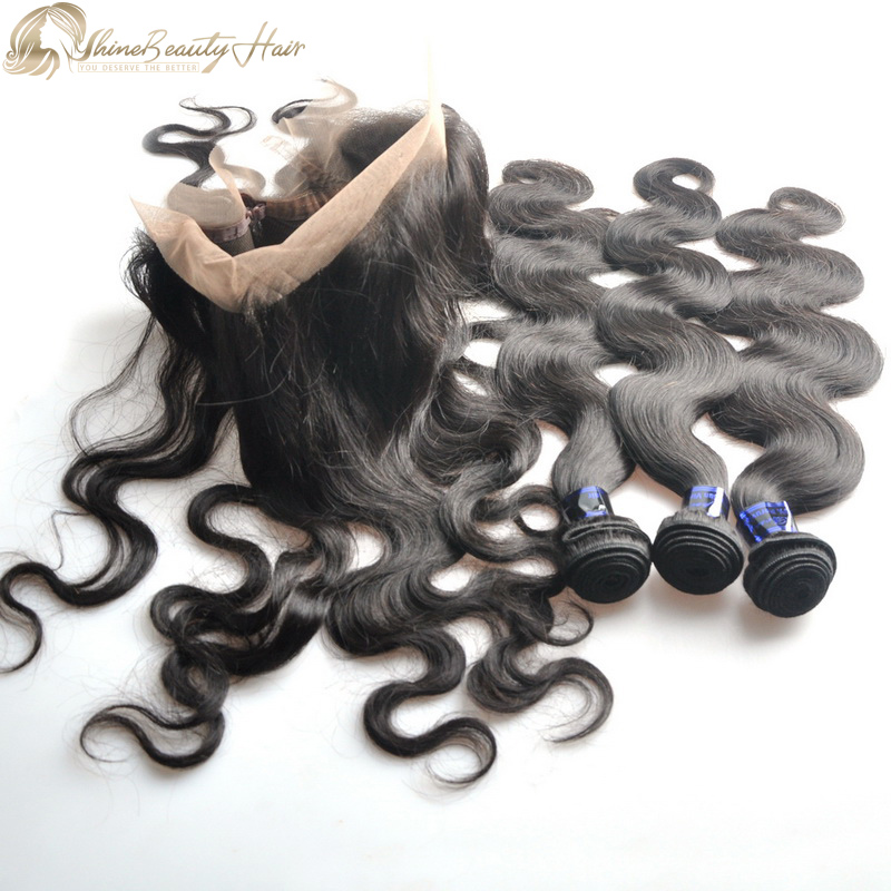 Shine Beauty Hair Brand Body Wave 3 Bundles With 360 Lace Frontal Peruvian Hair Direct Hair Factory Free Shipping