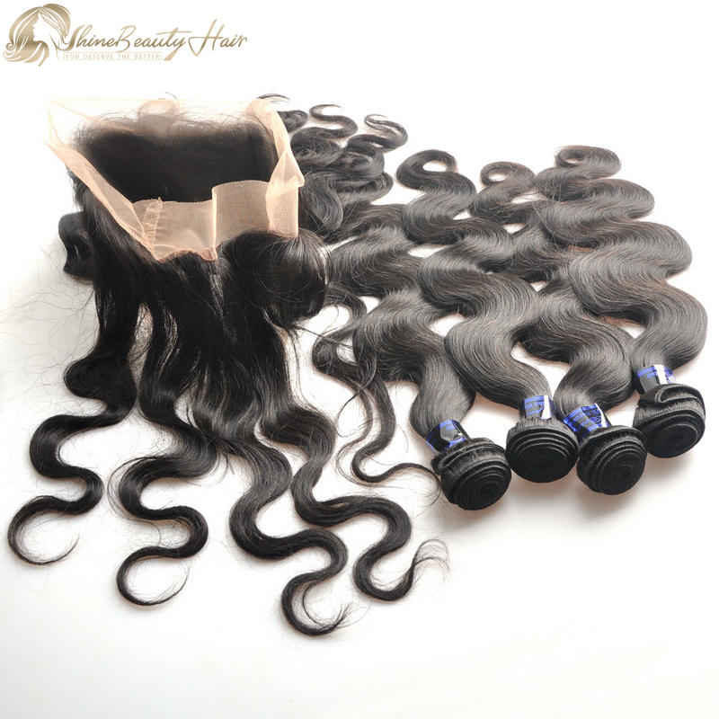 Shine Beauty Hair Brand Peruvian Hair 4pcs Body Wave Hair Extensions With 360 Lace Frontal 1pc China Hair Factory Direct Wholesaler Fast Free Shipping