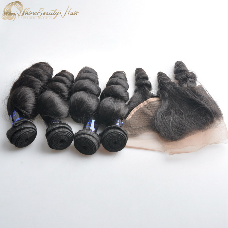 Popular Hair Brand Shine Beauty Hair Loose Wave Hair Extensions 4pcs With Ear To Ear Lace Frontal 1pc Brazilian Hair Loose Wave Fast Free Shipping