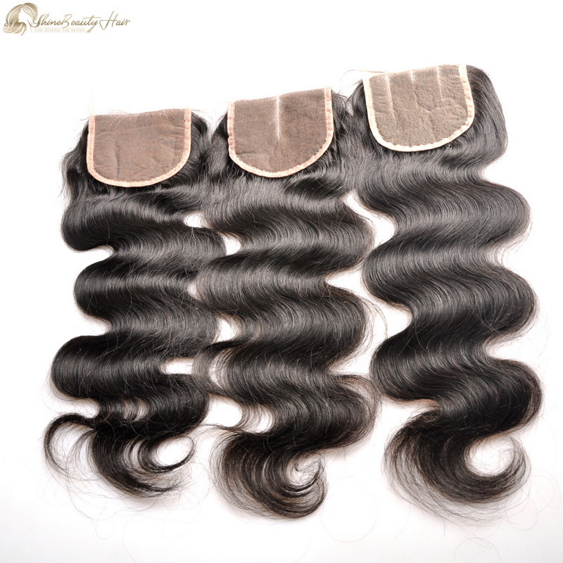 Shine Beauty Hair Top Quality Virgin Human Hair Closure Body Wave 4×4 Lace Closure Free Part,Middle Part And 3Part Factory Direct Wholesale Free Shipping