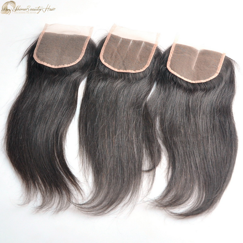 Shine Beauty Hair Factory Direct Suppy Peruvian Hair 4x4 Straight Lace Closure Natural Human Hair Closure Free Part Middle Part And 3 Part Free Shipping