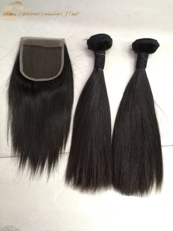 Shine Beauty Hair Company 2 Bundles Double Drawn Hair Extensions With Closure 1pc Silky Straight Luxury Hair Supplier Free Shipping