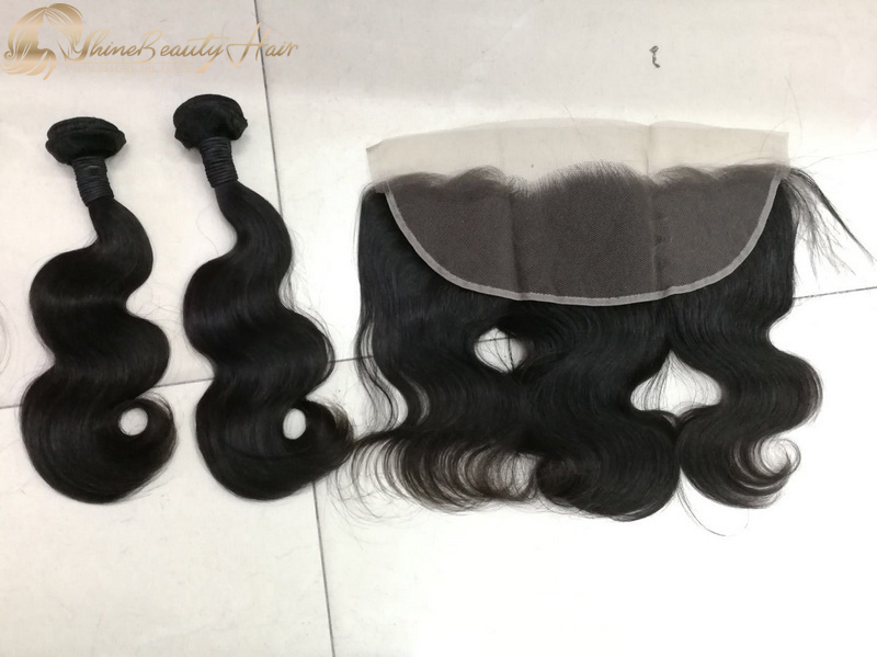 Shine Beauty Hair Company Peruvian Hair 2pcs Body Wave Double Drawn Virgin Hair Bundles With Frontal Ear To Ear 1pc Wholesale Price Free Shipping
