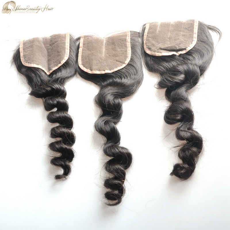 High Quality Standard Brazilian Human Hair Closure Loose Wave 4x4 Lace Closure Free Part/Middle Part/Three Part Shine Beauty Hair Brand Free FedEx Shipping