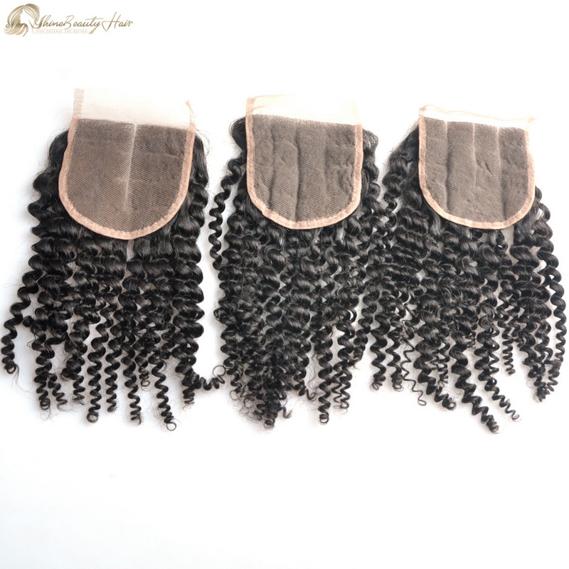 Free Shipping Hair Factory Direct Wholesale Price 4x4 Closure Virgin Hair Kinky Curly Lace Closure 4x4 High Quality Standard Shine Beauty Hair Brand