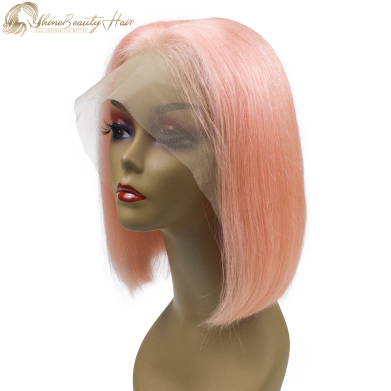 Free Shipping Factory Wholesale Price Pink Color Hair Front Lace Bob Wigs 10 inches To 16 inches Shine Beauty Hair Company