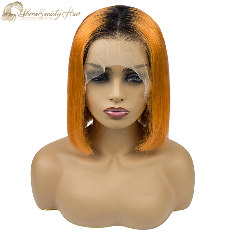 Popular Hair Brand Orange Wig Color 1B/Orange Front Lace Wig Bob Style Shine Beauty Hair Free Shipping
