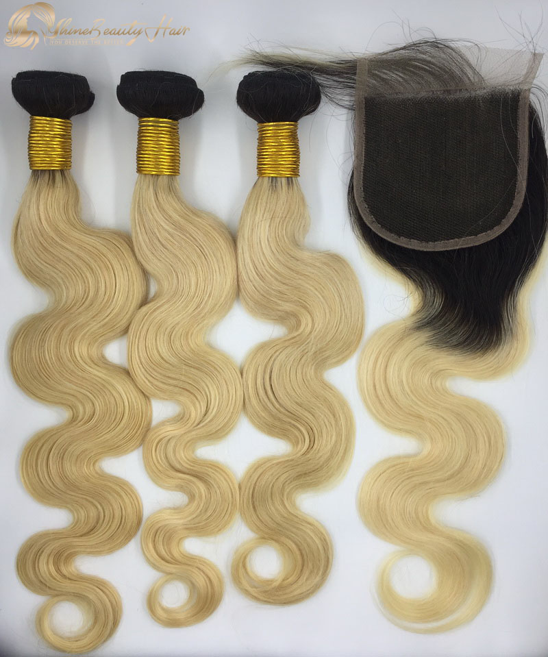 China Wholesale Hair Vendors 3pcs Color 1b613 Body Wave Hair Bundles With Closure Lace 4x4 1pc Remy Hair Shine Beauty Hair Brand Free Shipping Worldwide