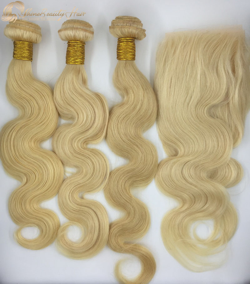 Shine Beauty Hair Company Remy Hair 3pcs 613 Body Wave Hair Bundles With Frontal 13x4 1pc China Factory Direct Wholesale Free Shipping