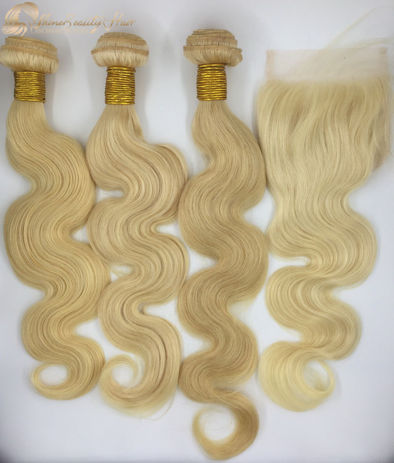 Free Shipping Indian Remy Hair 613 Body Wave Hair Bundles With Closure 4x4 Affordable Price Shine Beauty Hair Company
