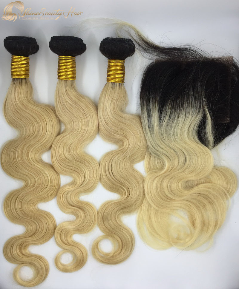Shine Beauty Hair Brand Brazilian Hair Color 1B613 Body Wave Hair Bundles With Frontal 13x4 China Hair Factory Brazilian Hair Free Shipping
